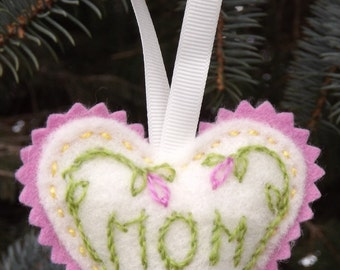 Gift For Mom Hand Embroidered Wool Heart Lavender Scented Sachet Design