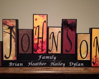 Home decor family name blocks living room home decor for Living room 7 letters
