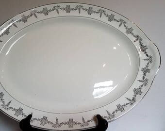 Vintage Taylor Smith Taylor Ivory and Silver Lace platter