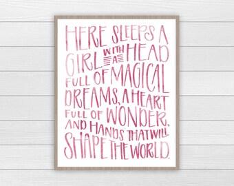 Here Sleeps A Girl | Nursery Print | Typography Print | Girls Room Decor | Baby Girl Nursery