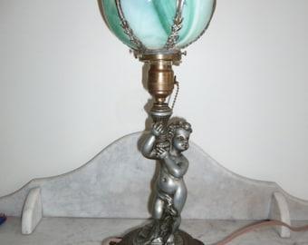 Antique art glass and spelter cherub table lamp c. 1900