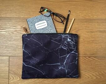 Christmas GIFT, Marble Clutch, Black marble clutch bag, handbag, Valentine's day Gift, unique gift, marble case, black white gift, vegan