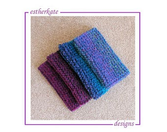 KNITTING PATTERN pdf, quick and easy chunky garter wristers, wrist warmers, instant DOWNLOAD