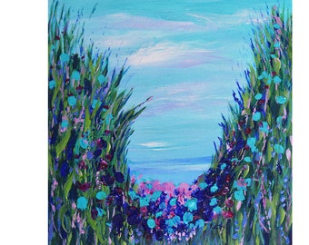 Modern Painting, Canvas Art, Fine Art, Blue Floral Abstract, seascape painting, gilcee PRINT, wall art, contemporary art, teal blue