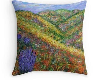 Throw Pillow, Wildflower Field, Decorative pillow, Accent Pillow, Abstract Pillow, Couch Pillow, Unique Pillow,