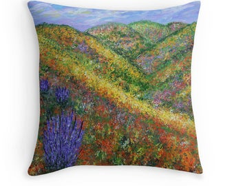 Decorative Throw Pillow, Wildflower Field, Accent Pillow, Abstract Pillow, Couch Pillow, Unique Pillow,