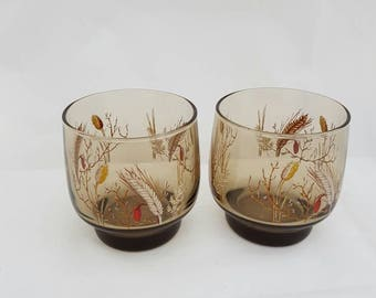 Vintage juice glasses set of 2 with flour and grain print. Retro