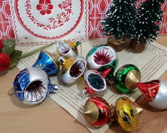 Lot of 10 Small Vintage Handpainted Glass Christmas Ornaments Indented Teal Silver Gold Green Blue Red Balls Teardrops