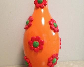 Vintage Orange Vase Ceramic Hippie Flower Power Mid Century Mod