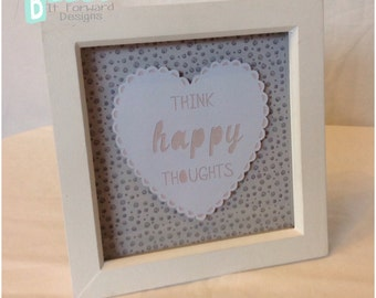 Think Happy Thoughts - Wall Decor Design - Papercut design - Bithday Gift