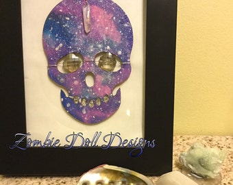 Name: Astral Projection. Handpainted and framed skull, bejeweled with real gemstones!