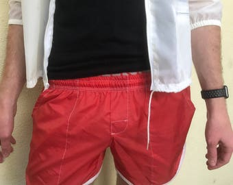 Vintage 1980s Red Dolphin Swim Trunks