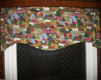 Country Farm Kitchen Cow Horse Pig Chicken Rooster fall fabric curtain Valance