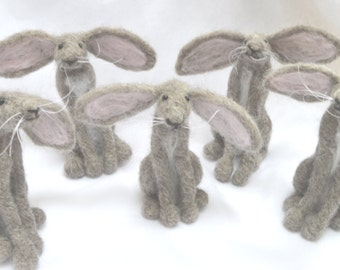 Needle Felting Kit 1 Grey Hare with Pink Ears collectible ornament  for beginners or improvers