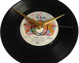 Queen Vinyl Record Clock Somebody To Love wall decor gift for music fan wedding anniversary birthday present husband partner wife boyfriend