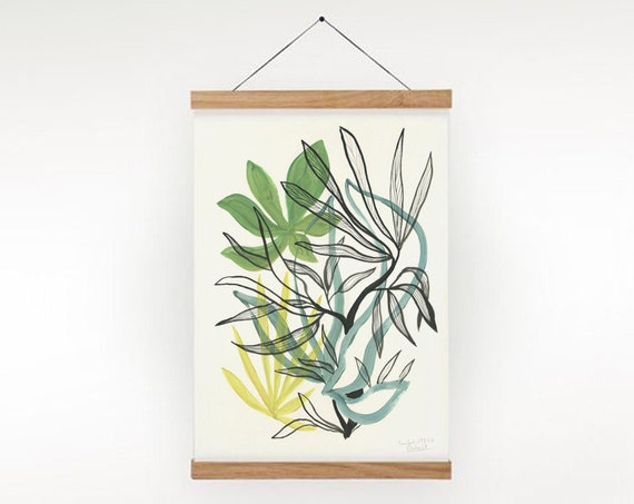 Foliage 2- Green Poster Plants PRINT - vegetation goauche painting of green leaves - Modern Botanical Poster Print by Catalina.
