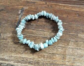 Larimar split bead bracelet