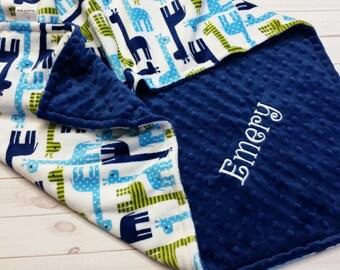Personalized Minky Baby Blanket, Baby Boy Minky Blanket, Giraffe Minky Blanket, Boy Baby Blanket, Giraffe Baby Blanket