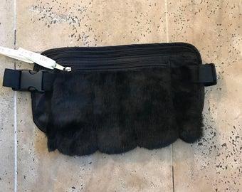 Fanny pack festival pouch black nylon with fur pack ripstop fur bag kids fur pouch backpack fur purse belt clutch case wallet travel bag