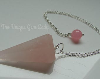 Rose Quartz Point Pendulum Dowser Pink ~ Gemstone Crystal Healing