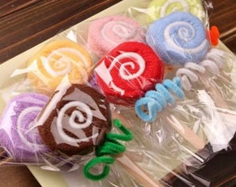 20 Colorful Towel Lollipop - Wedding Favors, Party, Baby Shower, Gifts Favors