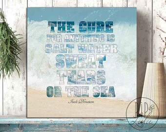the cure for anything is salt water, beach wall art, ocean print, canvas wall art, quote on canvas, ocean decor, typographic, canvas print