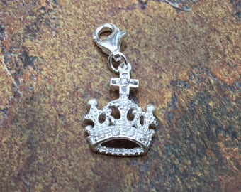 Crown Charm, Sterling Silver Crown Charm, Sterling Silver Charm, Sterling Silver Pendant, Crown with Crystals, PS4277