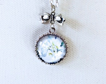 White Dahlia Flower Floral Necklace Silver Finish Pendant Necklace with Bow Charm