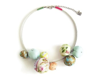 Pastel Fabric Bead Necklace Statement Collar Necklace Big Bead Necklace Fabric Jewelry Unique Gift for Women