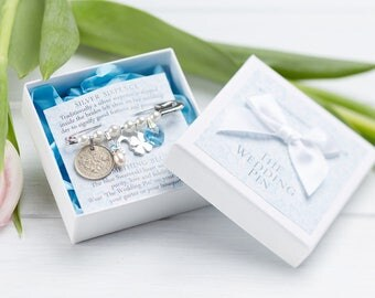 Wedding Bridal Charm Pin, Bridal Shower,  Lucky Silver Sixpence, Garter Charm, Something Old, New, Borrowed, Blue. Wedding Gift for Bride