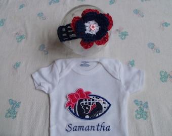 Personalized Houston Texans Baby Girl Onesie and Headband