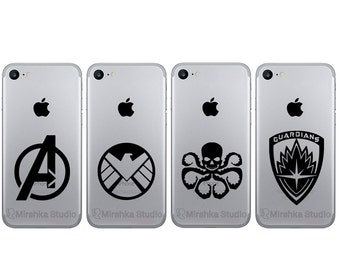 Superhero Logos Phone Stickers - Guardians of the Galaxy iPhone 7 Decal - Hydra Marvel Logo - Avengers iPhone 6 stickers - The Shield Art