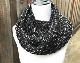 Chunky Black/White Speckled Infinity Scarf; Bulky Black/White Speckled Infinity Scarf; Chunky Fall Circle Scarf; Winter Circle Scarf;