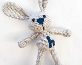 Keepsake Gift for Baby Boy - Woodland Baby Shower Gift - Crochet Bunny - Toy for Baby - Personalized Stuffed Bunny - Baby Shower Gift - Doll