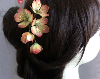Begonia flowers hair stick/hair comb/ Bridal headpieces/ wedding/ Kanzashi//hair clip/pink/hair fork/hair slide/asian tradition/5 flowers
