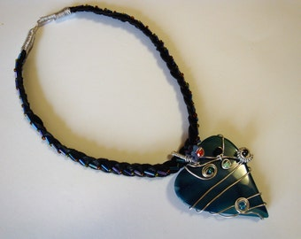 Necklace, chain, heart of glases, heart necklace, opulent