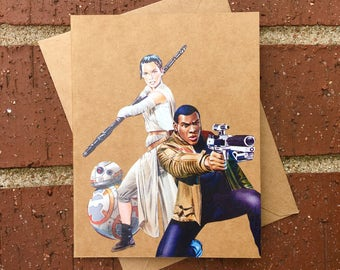 Star Wars - Rey, Finn and BB-8 Comic Book Greeting Card (Blank)