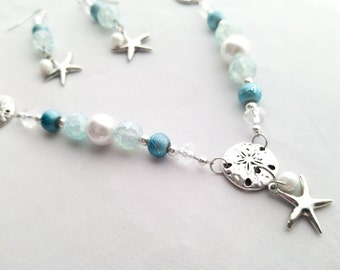 Beaded Necklace and Earrings Set - Peals, Sand Dollars, Starfish, Glass Beads - Aqua Turquois