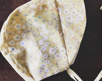 Mustard floral sun bonnet