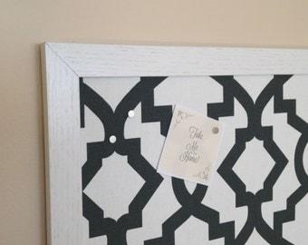 Framed Fabric Magnetic Board / Moroccan Midnight Geometric Pattern / Magnetic Bulletin Board