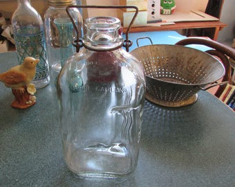 Vintage Glass Half Gallon Milk Bottle W/ Metal Handle