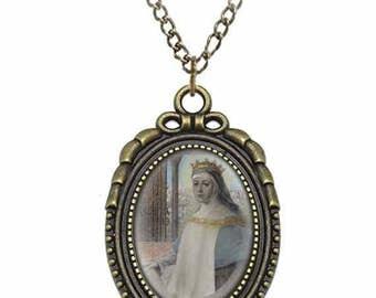 St Elizabeth of Aragon Catholic Necklace Bronze Medal w Chain Oval Pendant Saint Vintage