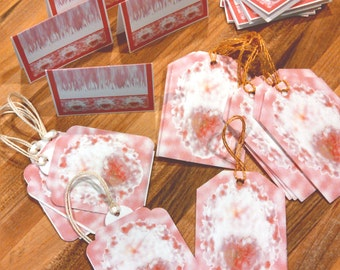 Romantic stationary Victorian hearts holiday tag sets place card pocket card floral supply hang tags package tags event tags custom print