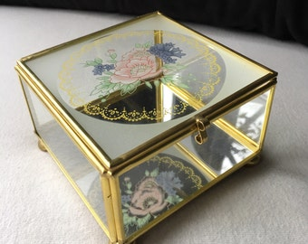 Vintage Brass and Glass Mirrored Jewelry / Trinket Box with Floral Design