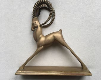 ON SALE! Vintage Brass Ibex / Antelope Statue Home & Office Decor