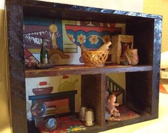 Vintage Handmade Shadow Box sith Collectibles