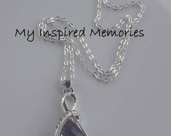 Free Shipping! Lavender teardrop necklace