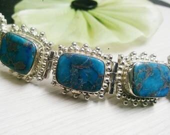 925 sterling Silver plated turquoise stone beautiful adorable Bracelet , gemstone Bracelet