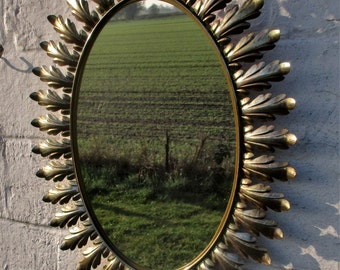 Large Lovely Rare Oval Starburst Sunburst Wall Mirror Mid Century Mirror Metal
