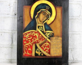 Religious Romanian Icon Madonna Painted on Wood Lovely